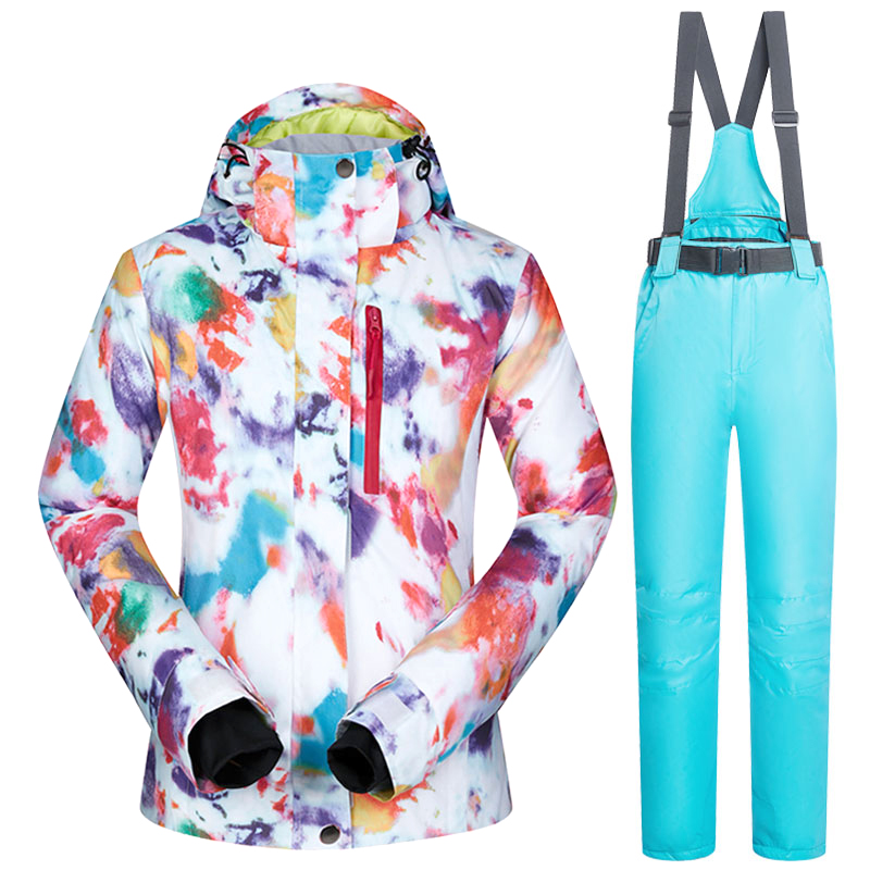 Tuta da sci Delle Donne Marche di Inverno Impermeabile Antivento Sportwear Inverno Femminile Giacca Da Sci E Pantaloni Da Neve Cinghia Set Snowboard Vestiti