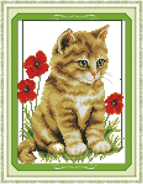 Mèo và poppy mẫu in trên vải dmc 11ct 14ct 18CT Cross Stitch dụng cụ may vá Bộ thêu động vật Cotton lụa cộng với
