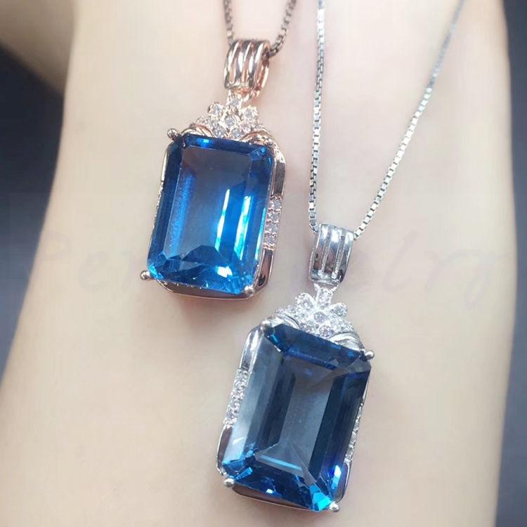 Большое ожерелье с натуральным голубым топазом Серебро 925 пробы 10*14 мм 9.5ct большой драгоценный камень G18092003