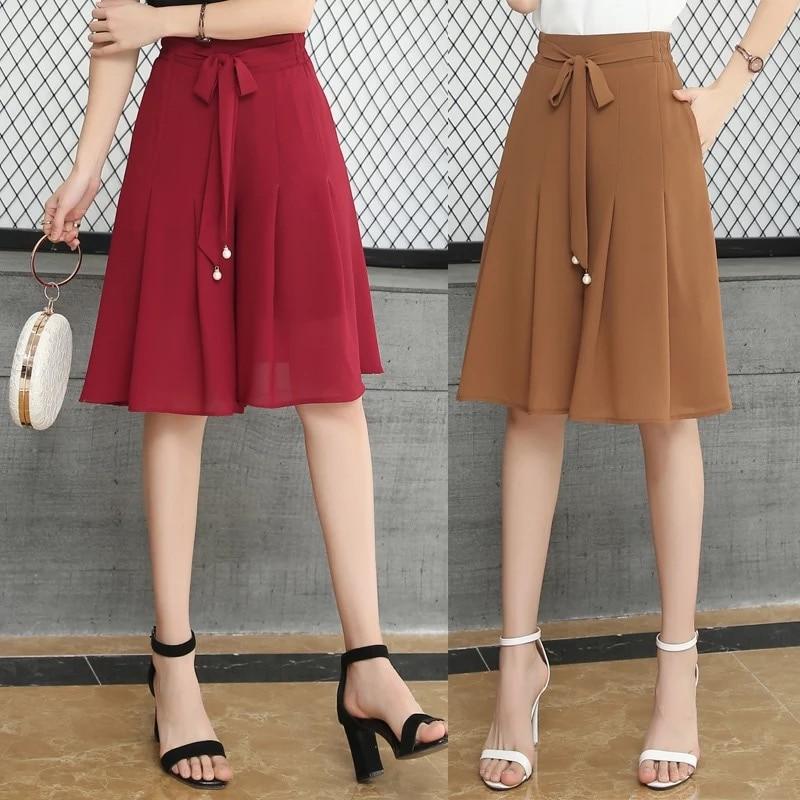 Pleated Skirt Summer Woman Shorts Skirts Plus Size Woman's Mini Chiffon Skirts High Waist Breathable Slim Women Layer Skirt
