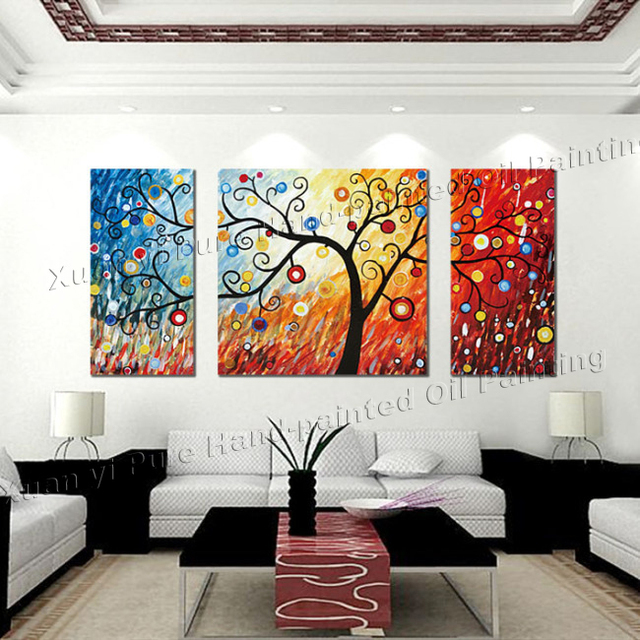 3 Piece Canvas Wall Art Large Modern Abstract Panel Decor Money Tree Artwork Picture Oil