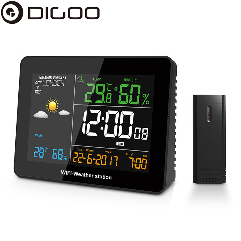 DIGOO DG-TH8788 WIFI Weather Station APP Remote Setting Automatic Connect Smart Home Multifunction Thermometer Hygrometer image