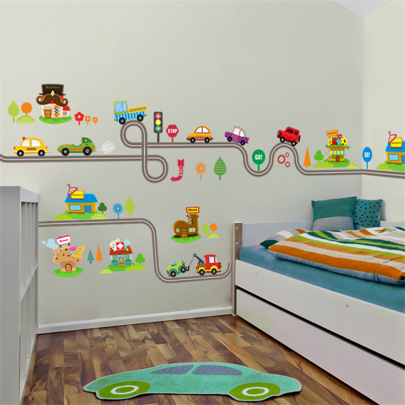 Cartoon Cars Highway Track Wall Stickers For Kids Rooms Sticker Children's Play Room Bedroom Decor Wall Art Decals 1
