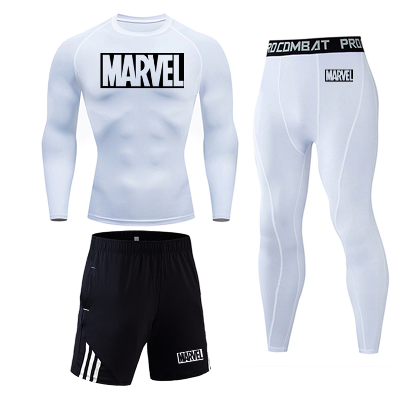 running - 2019 Brand Marvel letter Men's Running Set Compression Sports Suits Skinny Tights Clothes Gym Fitness Sportswear shirt Quick Dry