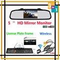 Auxiliar de estacionamento 5 Polegada LCD Monitor Espelho Auto Para infravermelho Europa Moldura Da Placa de Licença Do Carro Sem Fio Retrovisor Câmera de Visão Noturna