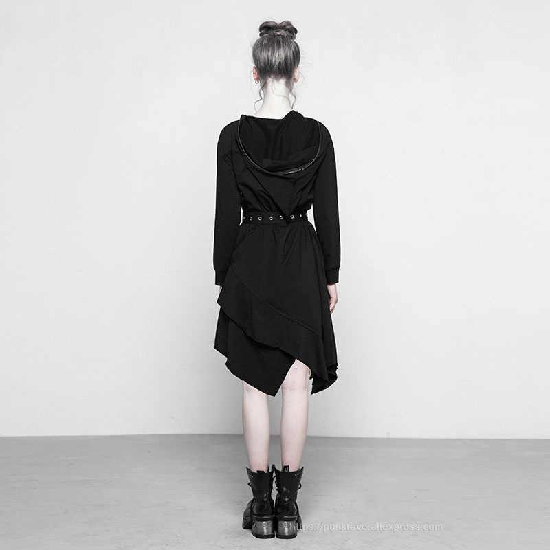 4c16f3c2891ed PUNK RAVE New Women's Punk Black Asymmetrical Witches Retro Dresses with  Hood Gothic Stitching Fashion Club Clothes Dress