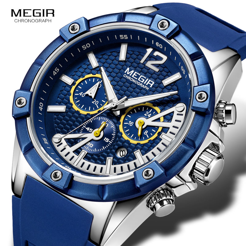 MEGIR Army Sports Waterproof Quartz Wrist Watches For Men Blue Silicone Stopwatch Relojios Masculinos Clock Luminous 2083GBE-2