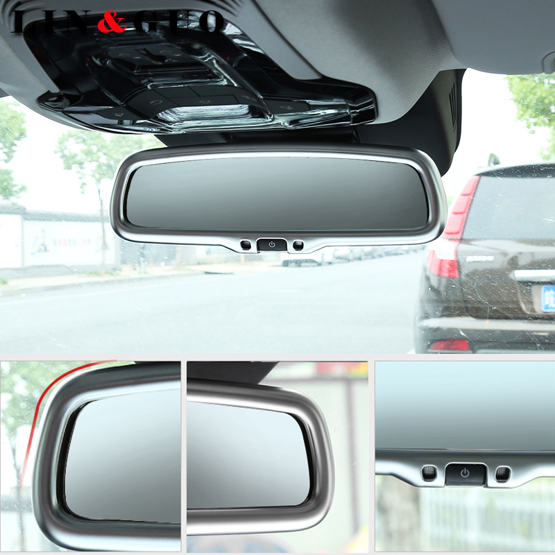 For Alfa Romeo Giulia Stelvio 2017 Car styling Carbon fiber Interior Rearview Mirror Frame Cover Trim