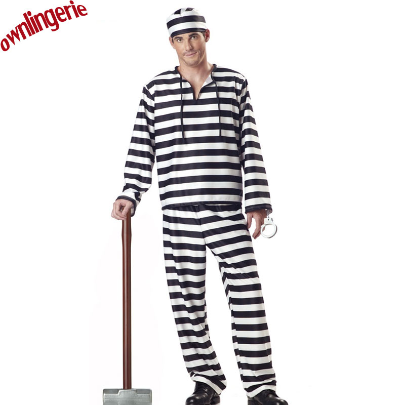 Free shipping 3-piece men prisoner costume,couple halloween costume,white/black stripe prisoner costume in cosplay,drop shipping image