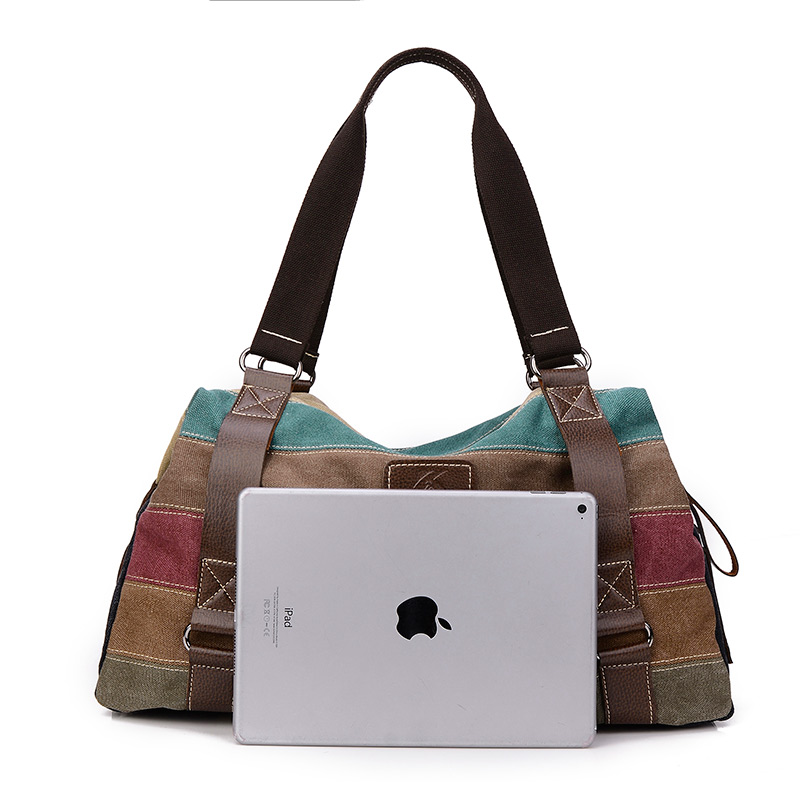 2017 new women canvas bag fashion large-capacity handbag striped leisure travel shoulder bag womens shopping bag designer