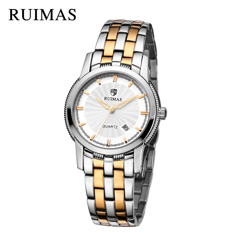 RUIMAS Top Brand Luxury Men Quartz Watch Fashion Stainless Steel Business Wrist Watch Relogio Masculino Military Watches for Men migeer relogio masculino luxury business wrist watches men top brand roman numerals stainless steel quartz watch mens clock zer