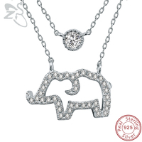 ZS Elephant Pendant Necklace Women Double Necklace 925 Silver Paved AAA Cubic Zirconia Crystal Necklace For