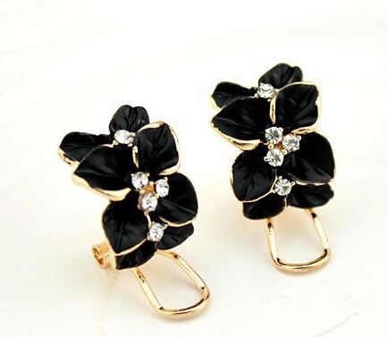 Розовое золото Цвет Кристалл Эмаль черный/белый Гардения цветок серьги с пряжкой Модные Винтажные Ювелирные изделия для женщин