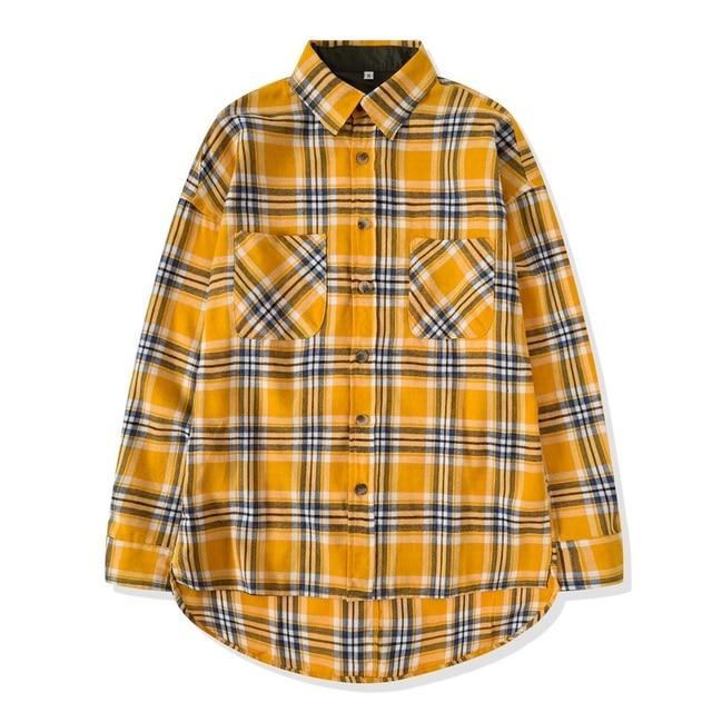 Long Sleeve Yellow Plaid Flannel Justin Bieber Tour Histreet Hiphop Side  Split Casual Shirt US SIZE 24a8e7079c2
