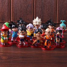 Childhood Son Gohan Goten Goku Krillin Vegeta Trunks Piccolo Upa Bulla Chichi Dragon Ball Figure Action Boys Toys Gift 13pcs/set(China)