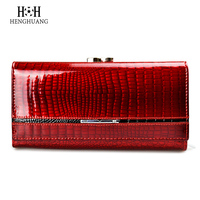 HH Womens Wallets Genuine Leather Alligator Wallet Luxury Brand Hasp Lady Coin Purse Design Clutch Bag