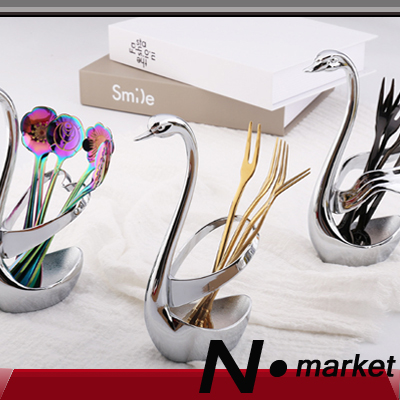 New arrival France style Creative Fruit Fork Base Vogue Swan Tableware Seat Stainless Steel Frame coffee spoon Storage Rack