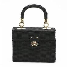 цены New 2018 Black Rattan Bag Small Flap Beach Straw Bags Women Hand-woven Square Box Messenger Bags Bohemian Bali Boho Handbag