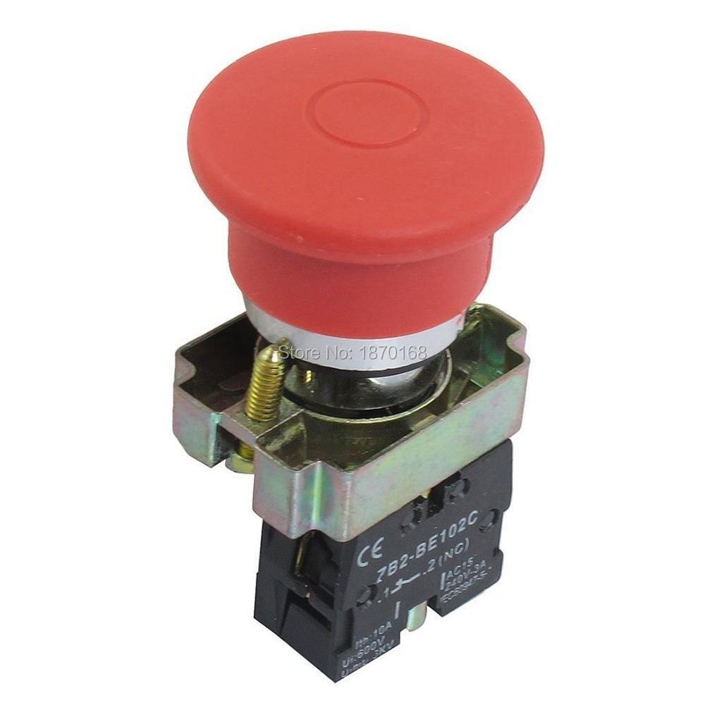 XB-BS542 22mm NC Red Mushroom Emergency Stop Push Button Switch 600V 10A ZB2-BS542