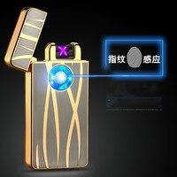 New Fashion Intelligent USB Electronic Dual Arc Metal Flameless Fingerprint Rechargeable Windproof Cigarette Plamsa Lighter