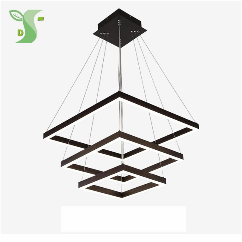 Square LED pendant lights Acrylic ceil ing light 3ring hanglamp 130W white warm white dimmable acrilico light for living room