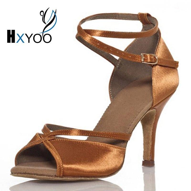 HXYOO Customized Peep Toe Ballroom Latin Dance font b Shoes b font Women Satin Comfortable font