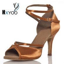 HXYOO Customized Peep Toe Ballroom Latin Dance Shoes Women Satin Comfortable Salsa Shoes Gold Black Soft Sole JYG457