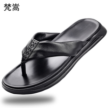купить Genuine Leather slippers men fashion outside anti-skid casual thick bottom youth slippers Flip Flops casual Shoes beach outdoor по цене 4038.96 рублей