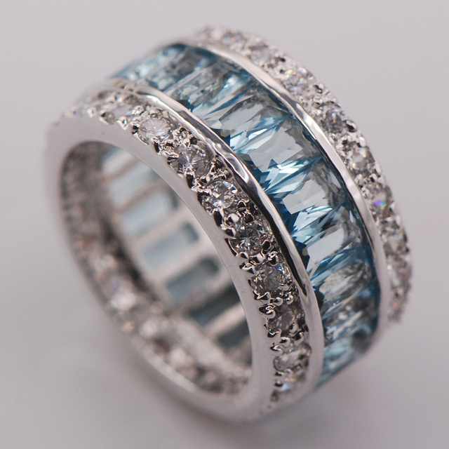 Simulated Aquamarine Women 925 Sterling Silver Ring F681 Size 6 7 8 9 10