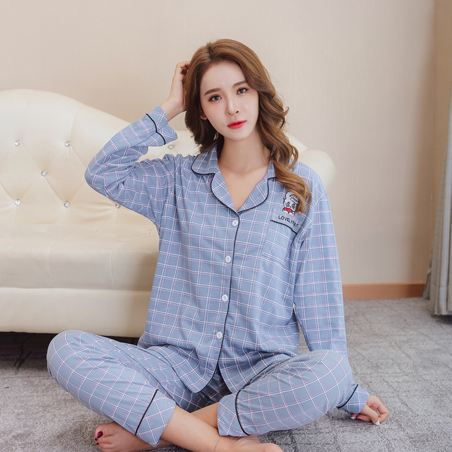 45ef4fc361 Cartoon cute rabbit home clothes two-piece cardigan cute long-sleeved pants  printed plaid knitted cotton pajamas