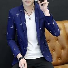Autumn New Blazer Masculino 2018 Fashion Print Slim Fit Men Blazer Long Sleeve One Button Business Dress Blazer Jacket Plus Size