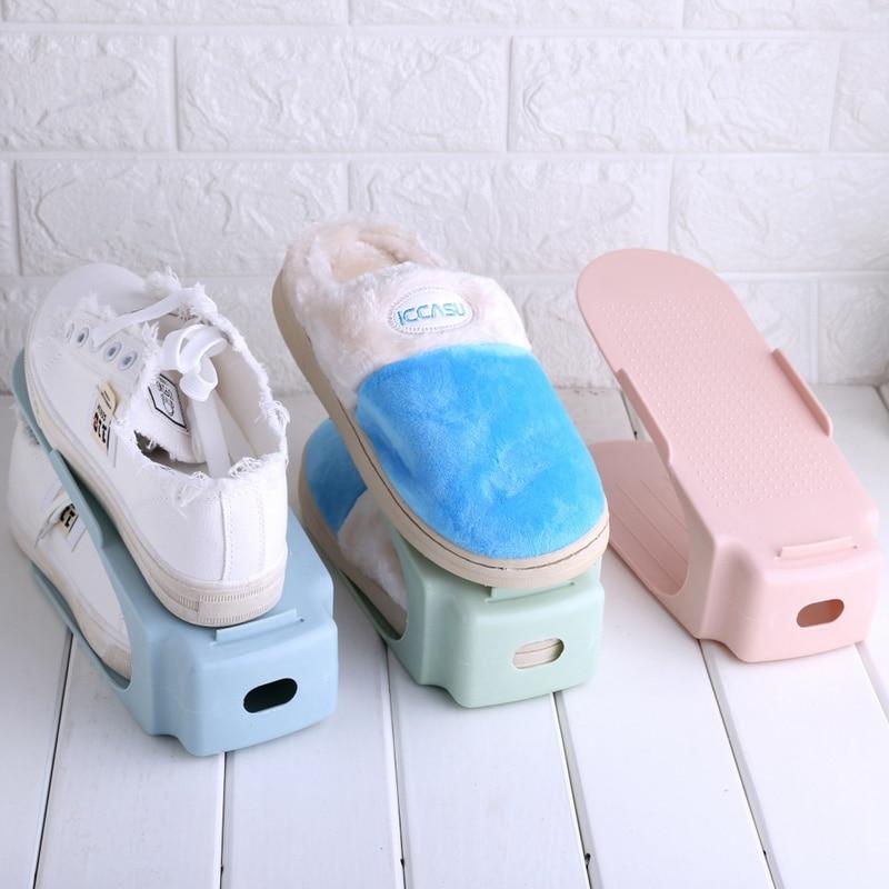 4 Colors Useful 1 Pcs Salon Practical Shoe Box Popular Shoe Racks Modern Double Cleaning Shoe Storage Organizer Stand Tray