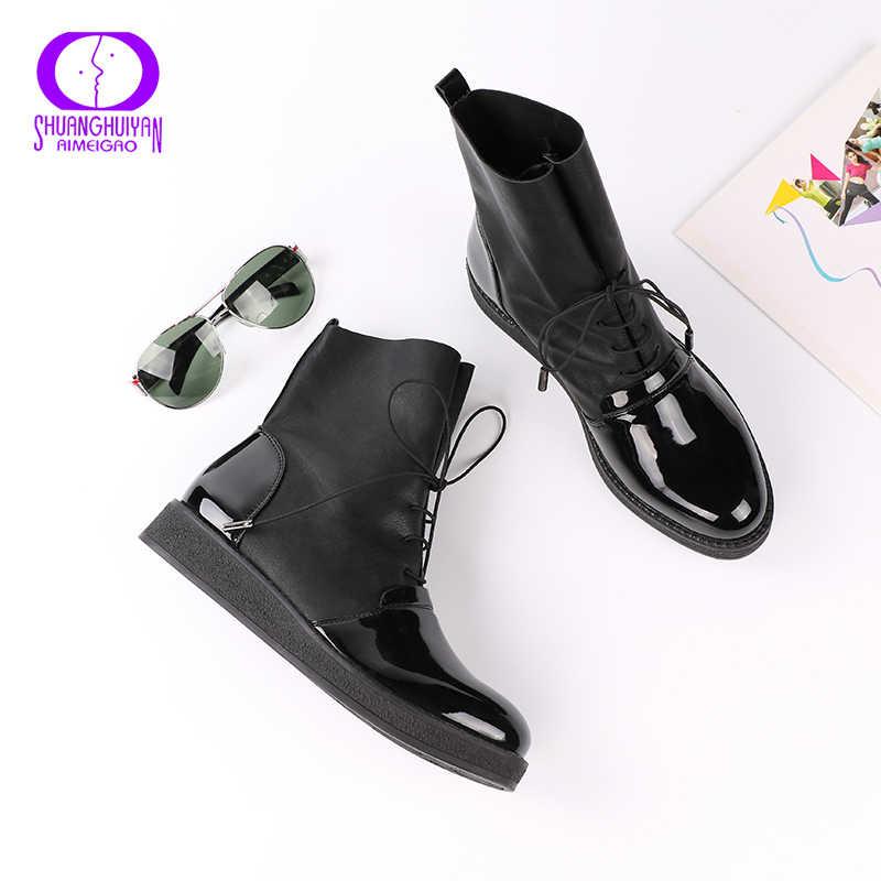 AIMEIGAO Recentes Mulheres Sexy Ankle Boots Femininas Plataforma de Patentes Moda Couro PU Mulheres Sapatos Além de Botas de Tamanho Para As Mulheres
