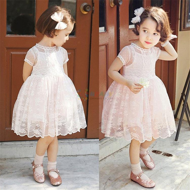 4444548e0 Baby Girls Dress New 2017 Summer Pink Beige Children Princess Lace ...