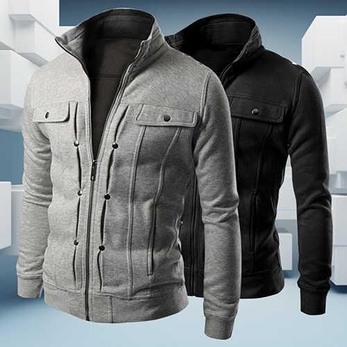 2019 新到着男性のスタンド襟ジッパートラックスーツカジュアルジャケット冬暖かい男性ジャケット生き抜く