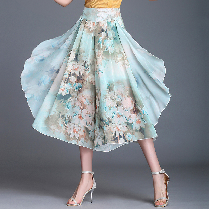 Women' summer thin printed chiffon wide leg pants new loose wide feet big skirt pants high waist Elastic Waist Calf-Length Pants