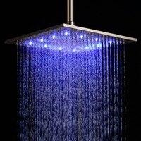 Бесплатная доставка 12 ''LED Нержавеющаясталь Для ванной потолок дождь Насадки для душа в матовый Никель 30x30 см