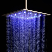 Free shipping 12'' LED Stainless Steel Bath Ceiling Rain Shower Head in Brushed Nickel 30X30CM