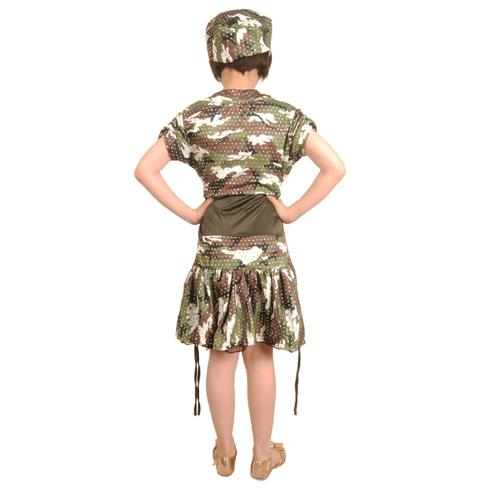 kids girls army costume military uniform soldier cosplay dress roleplay camouflage uniform halloween costume for children