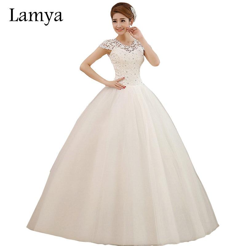 Murah plus saiz seksi renda pendek lengan gaun pengantin Lamya putri pengantin kekasih tulle bola gaun vestido de noiva