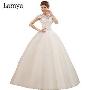Cheap Plus Size Sexy Short Lace Sleeve Wedding Dress Lamya Princess Bridal Sweetheart Tulle Ball Gown Vestido De Noiva
