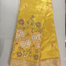 Yellow Color Indian George Wrapper Fabric Hollow Design With Sequins 4184b0692077