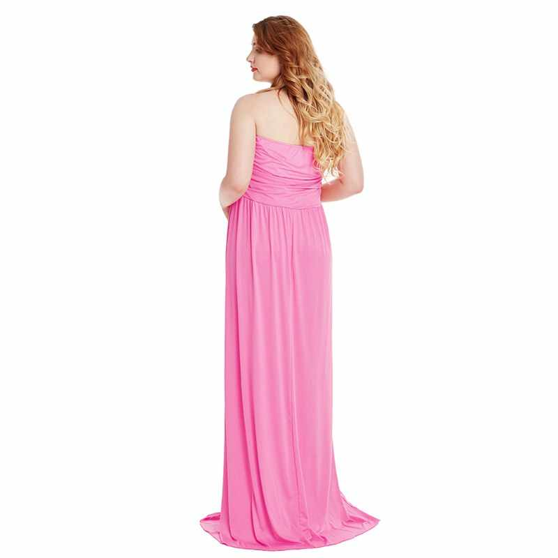 e2663537d9fd3 MUABABY Woman Pregnant Clothes Sleeveless Tube Summer Maternity Dresses for  Photo Shoot Women Evening Long Gown for Baby Shower