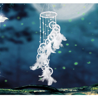 White Polycyclic Dream Catcher Feathers Wall Hanging Home Car Decoration Crafts Dream Catcher Wind Chimes Gifts
