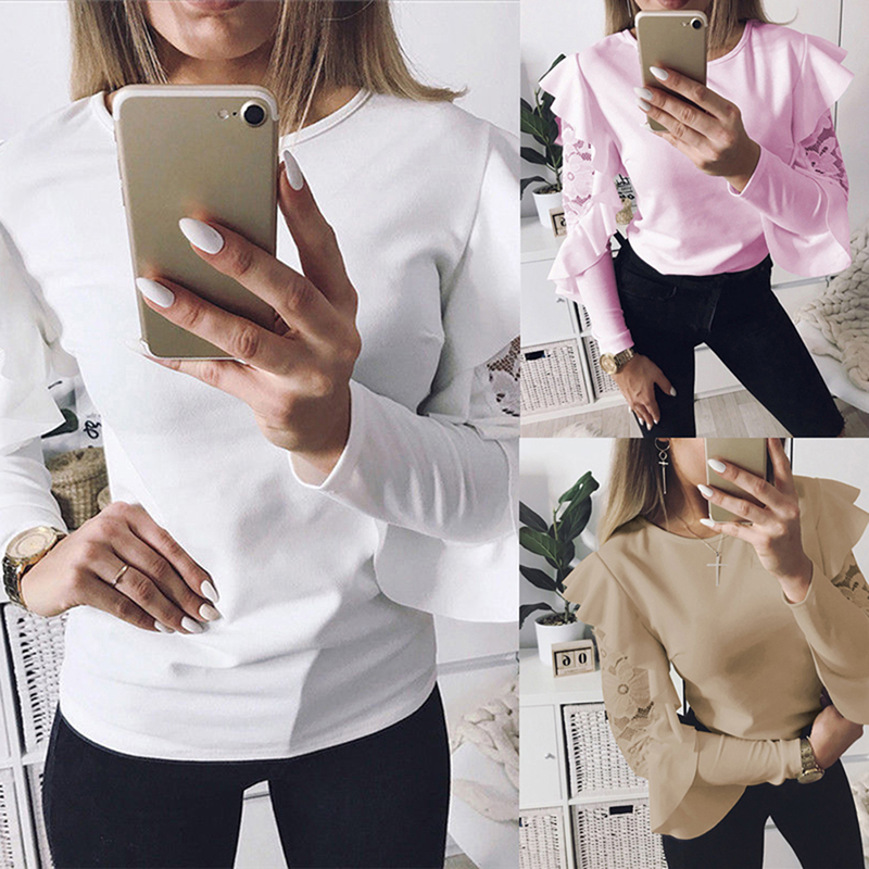 Fashion women Blouse Shirts Ruffle Floral Lace Long Sleeve Blouse WhiteKhaki Autumn Elegant Shirt Blouses Tops