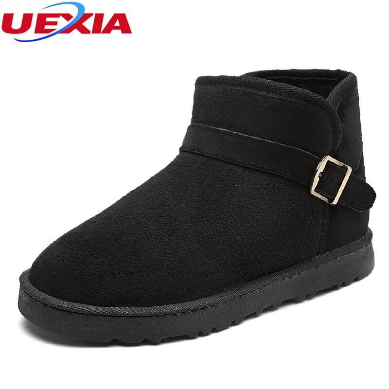 UEXIA Unisex Fashion Furry Shoes Women Boots Ankle Couple Designer Big Size 45 Winter Outdoor Warm Fur Shoes Womens Snow Boots
