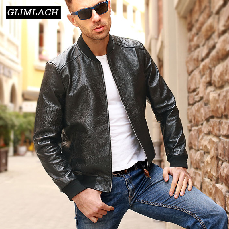 Quality Men Embossing Sheepskin Genuine Leather Coat 5XL Motorcycle Jacket 2019 Clothing Slim Black Flight Real Leather Jackets