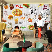 Cartoon hand-painted delicious pizza background wall professional production wallpaper mural custom poster photo