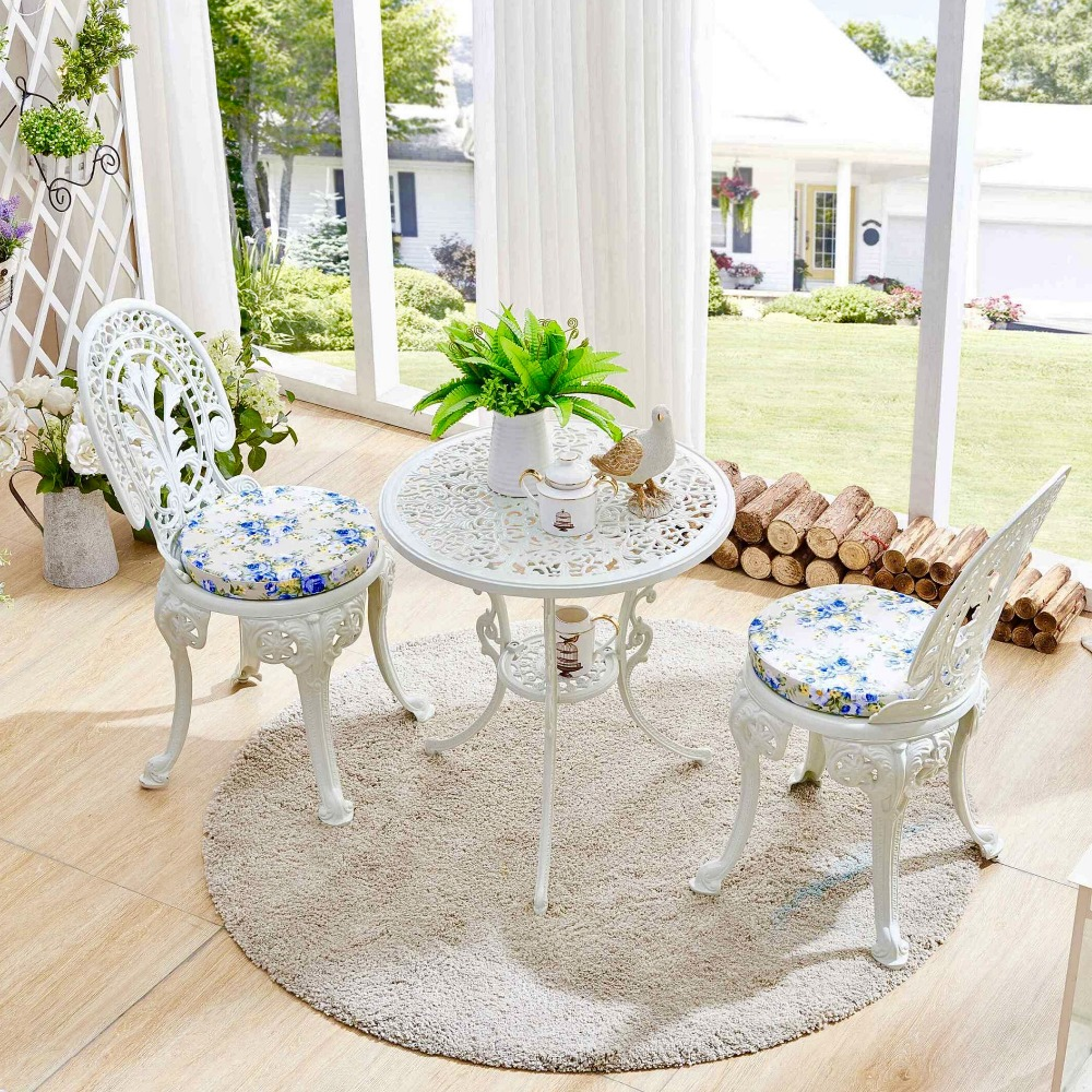 Astounding Cast Aluminum Outdoor Balcony Table And Chairs Combination Theyellowbook Wood Chair Design Ideas Theyellowbookinfo