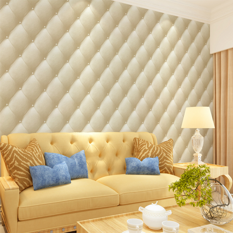 Modern European Style 3D Stereo Imitation Leather Wallpaper Roll For ...